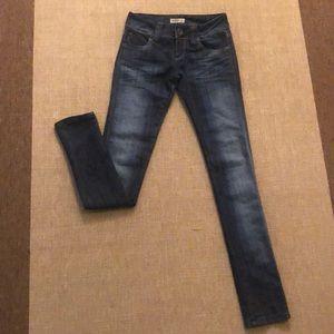 Pants - Merprim Long Skinny Jeans- dark wash with fading